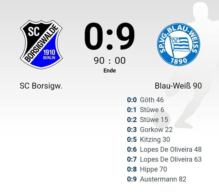 Kantersieg im Pokal gegen den SC Borsigwalde