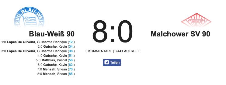 8 Tore Sieg gegen Malchower SV