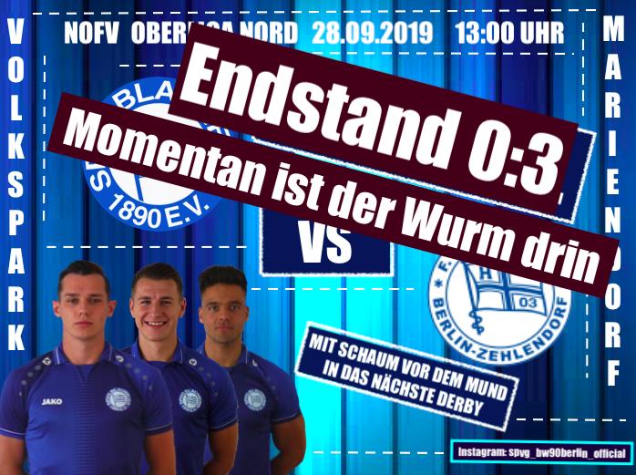 Niederlage im Berlin Derby gegen Hertha 03 Zehlendorf