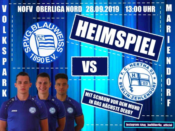 """""""Berliner Oberligakracher"""" Sp.Vg. Blau Weiß 90 – FC Hertha 03 Zehlendorf"""