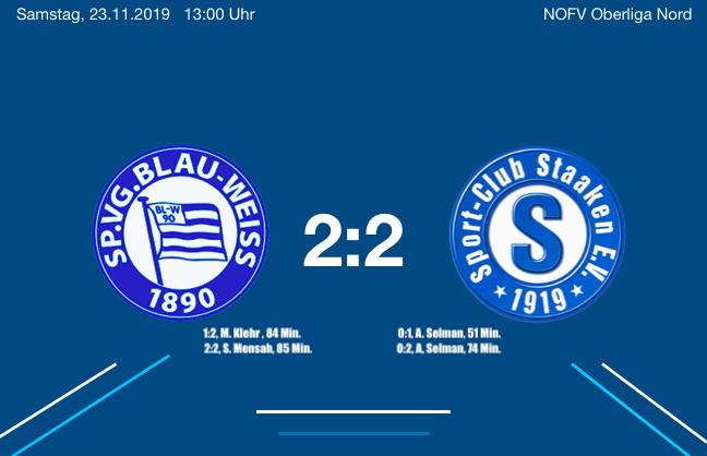2:2 gegen den SC Staaken